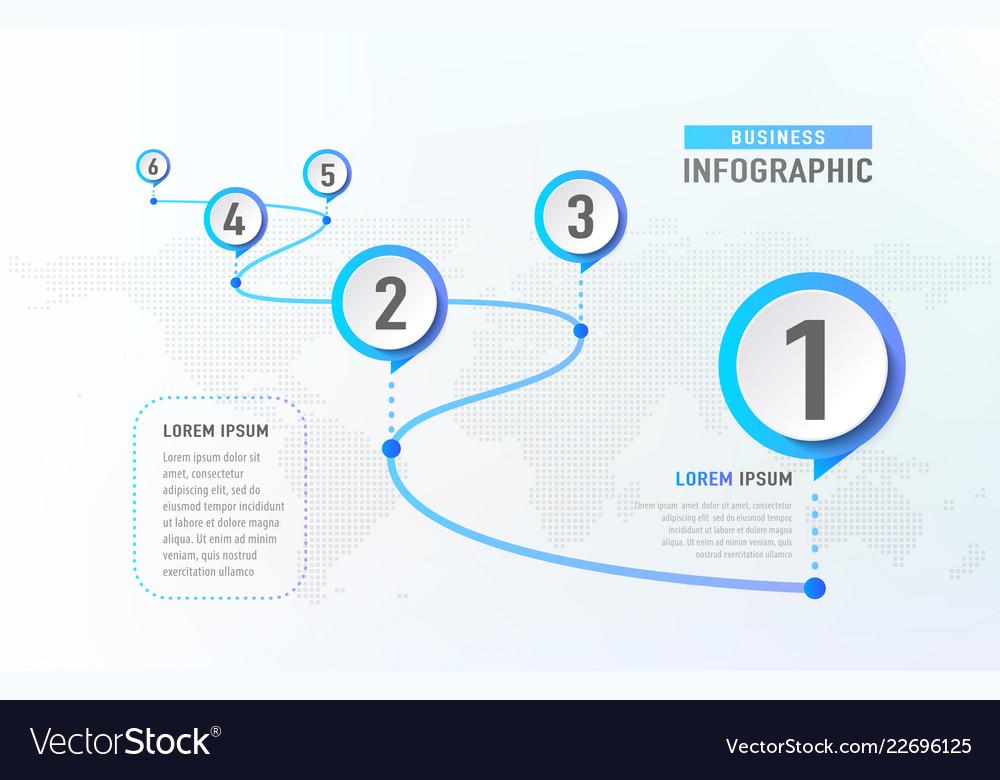 Timeline infographic 6 milestone like a road