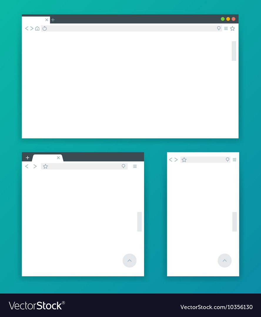 Blank browser windows for different devices of