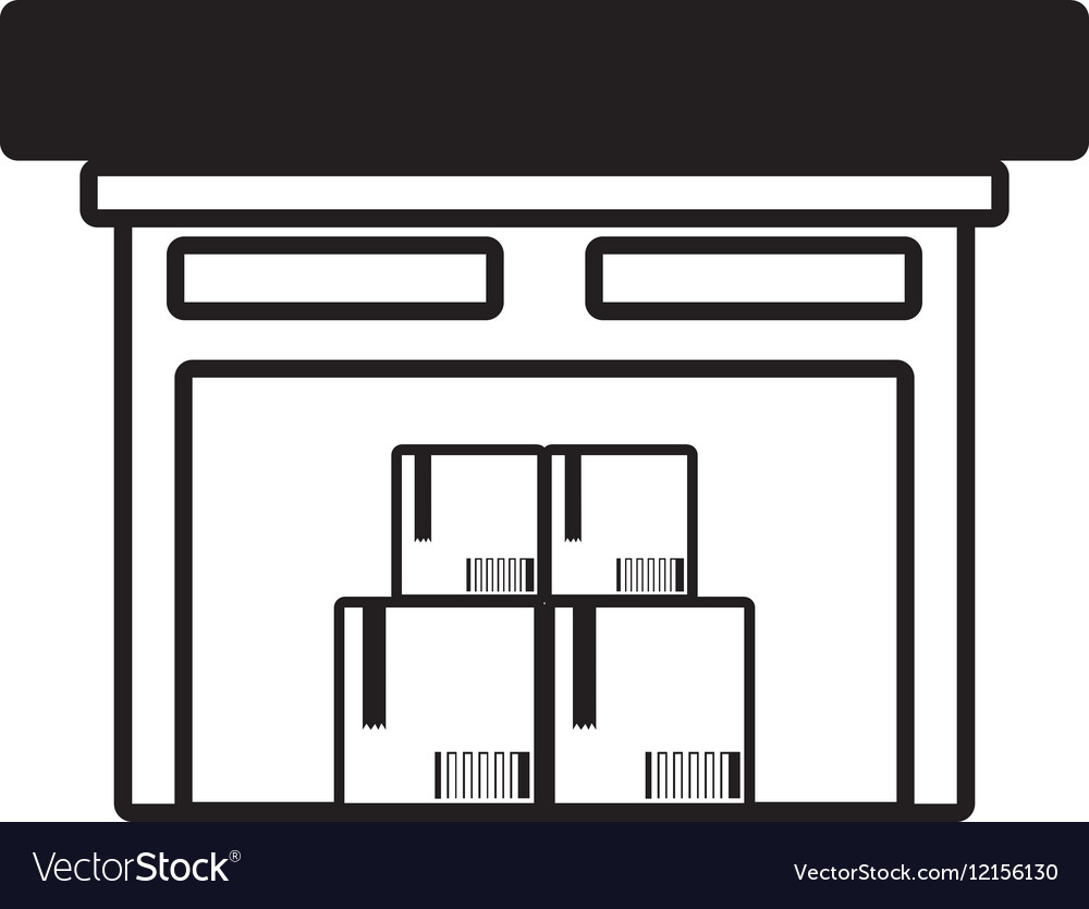 Building warehouse cardboard boxes cargo outline vector image