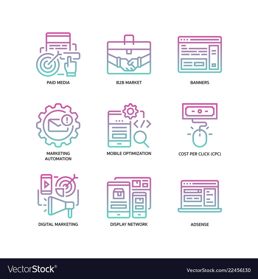 Digital marketing icons set 2