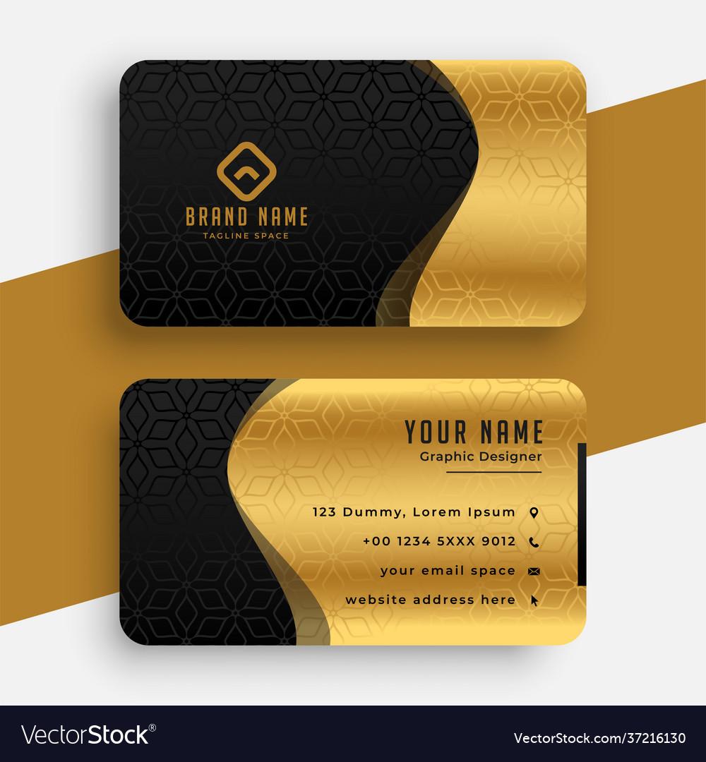Golden black premium wavy business card template