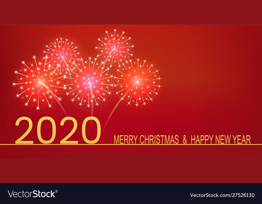 Happy new year 2020 golden text with fireworks on