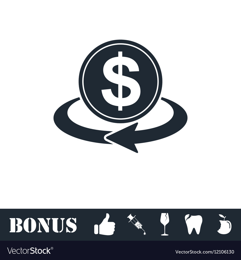 Money transfer icon flat