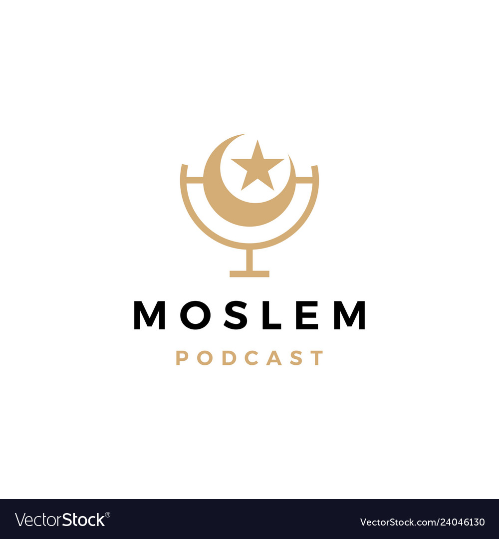 Moslem podcast logo icon for islamic blog video