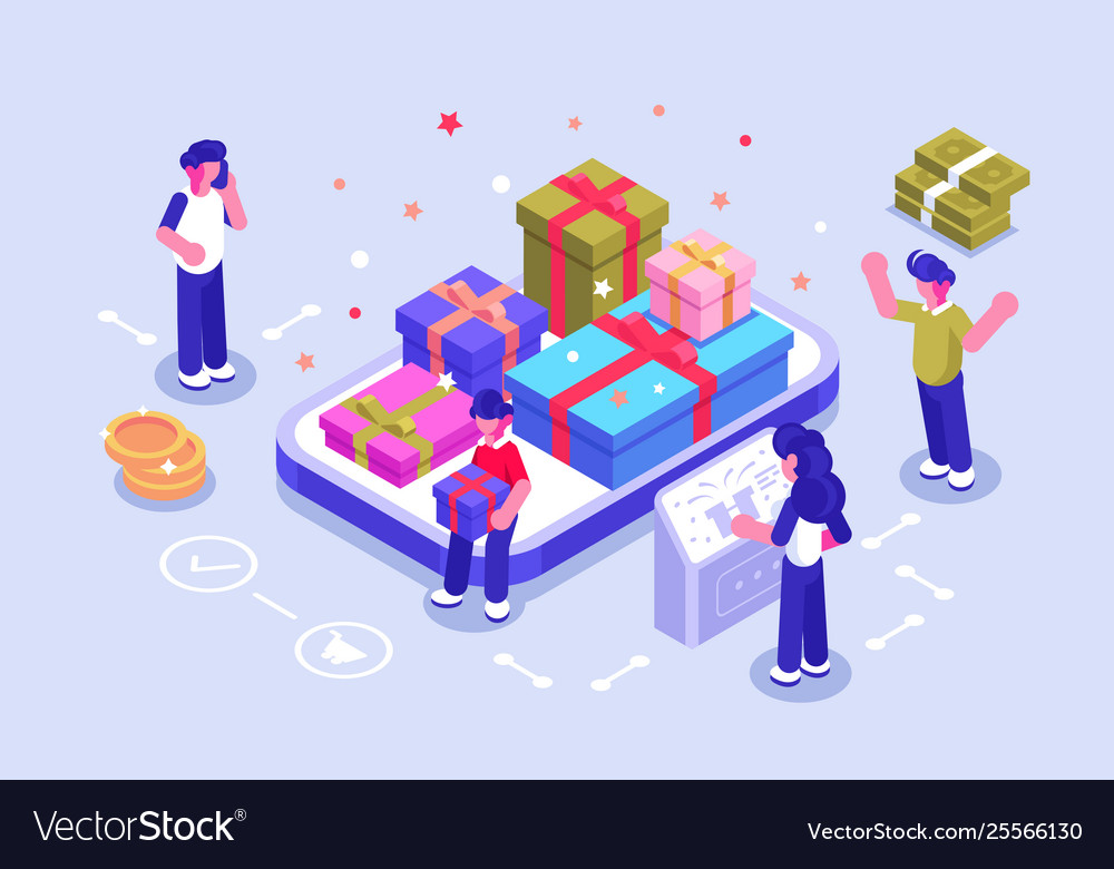 People giving online gifts