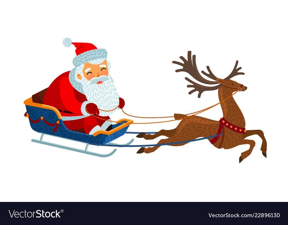 Santa claus is riding in a sleigh christmas