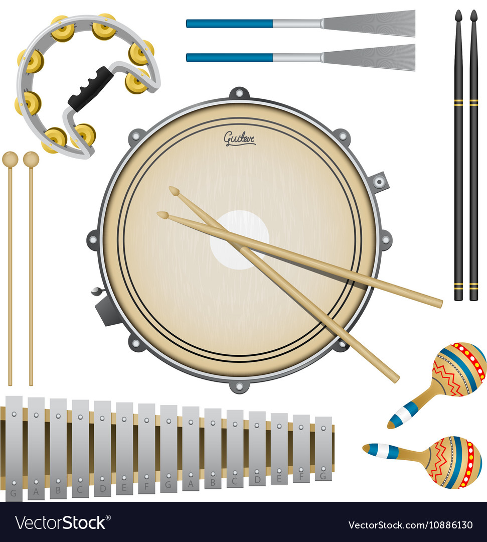Set of percussion music instruments drums