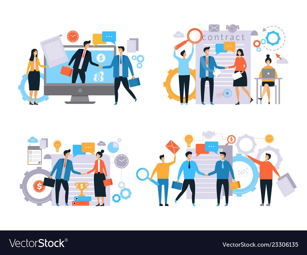 Business Relationships Investors Handshake Vector Image