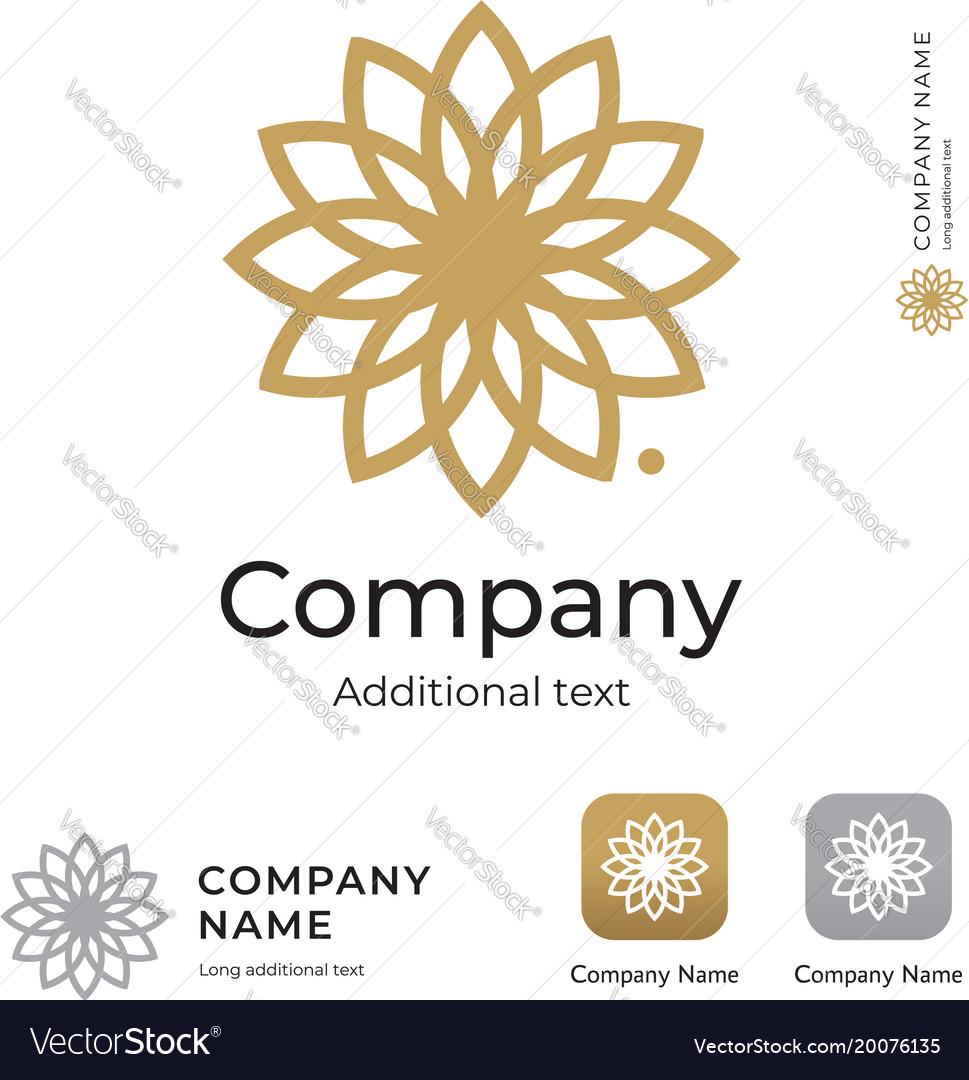 Countour beauty flower logo modern identity brand vector image