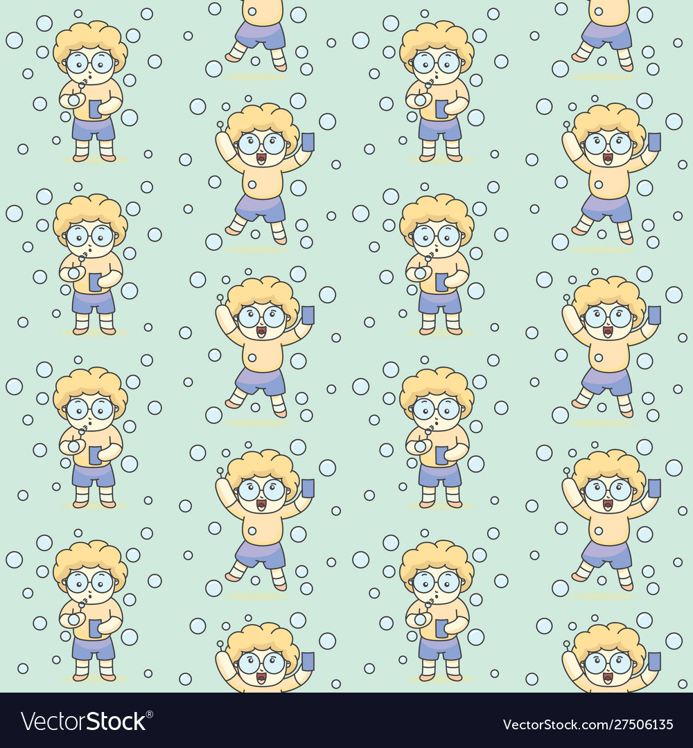 Cute bubble boy with glasses seamless pattern