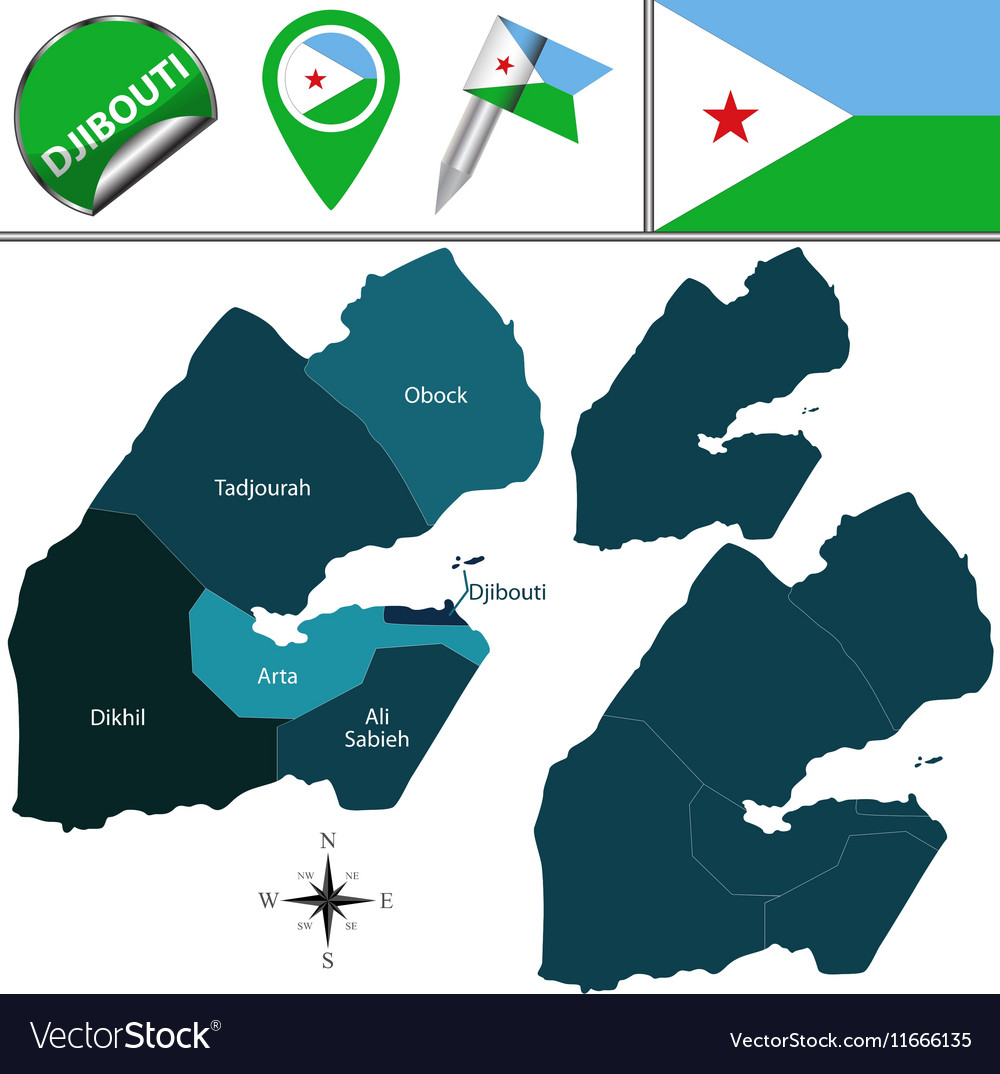 Djibouti map with named divisions Royalty Free Vector Image on