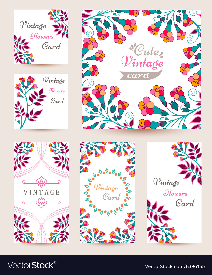 Elegant cards with multi colored flowers and