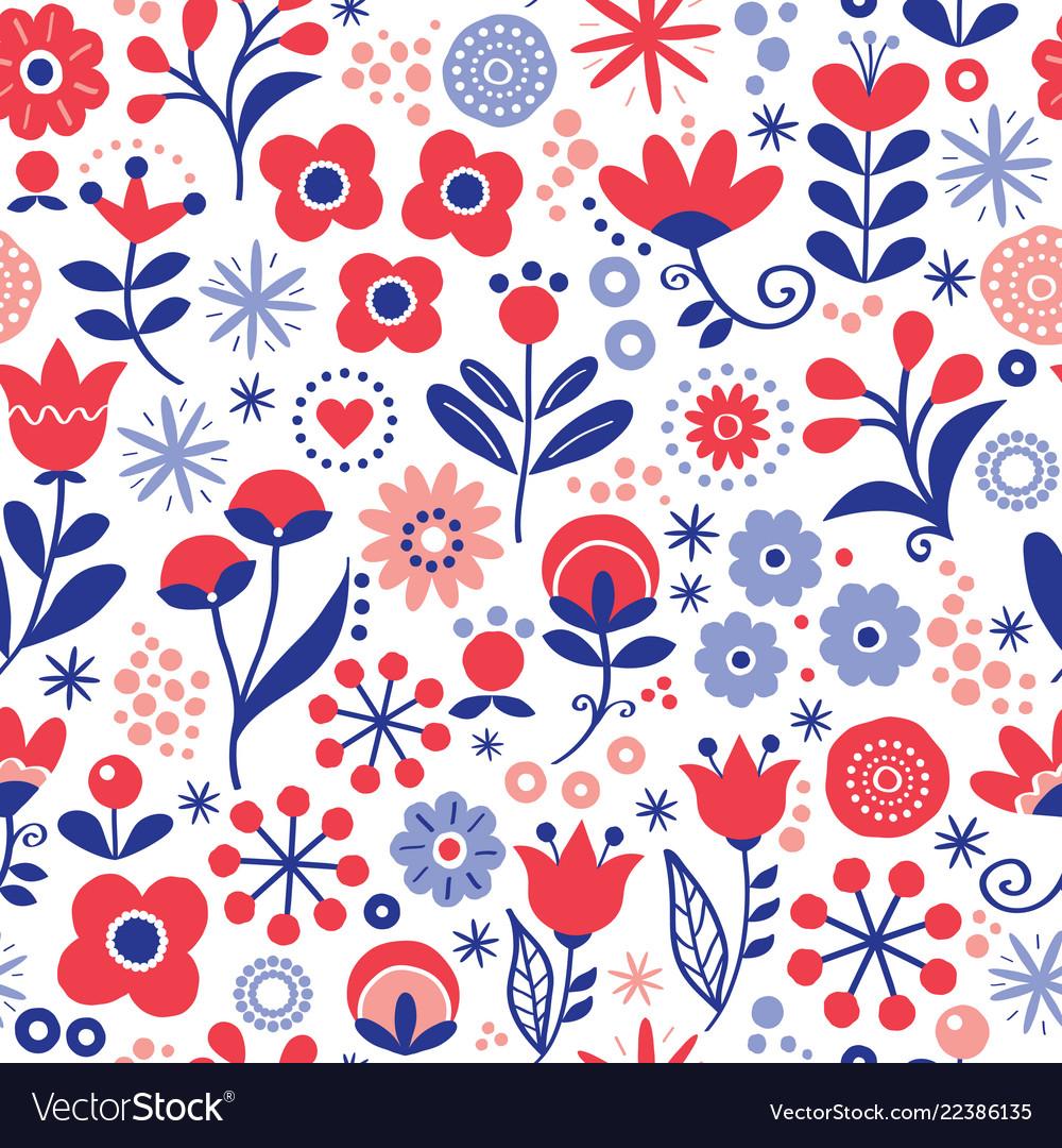 Floral seamless pattern - hand drawn design