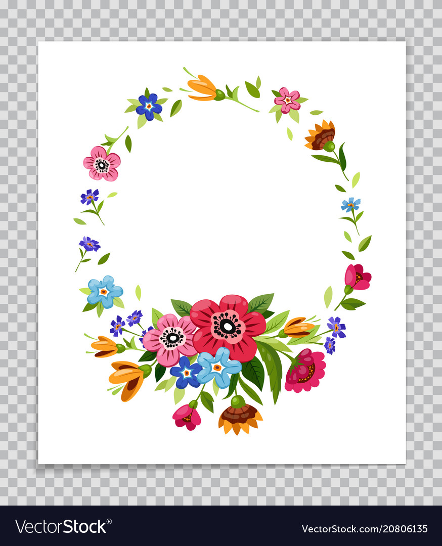 Flower frame template for greeting card Royalty Free Vector