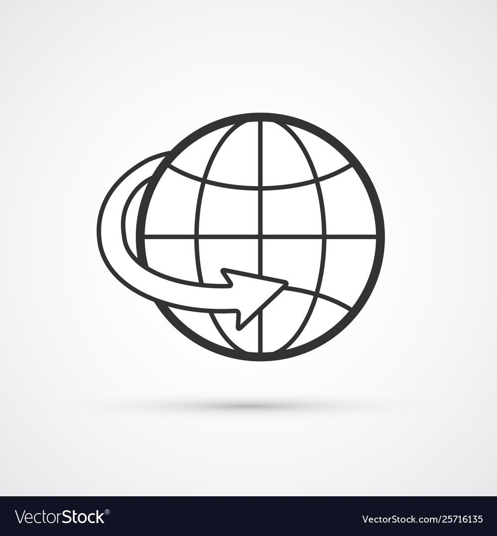 Globe worldwide flat line icon eps10