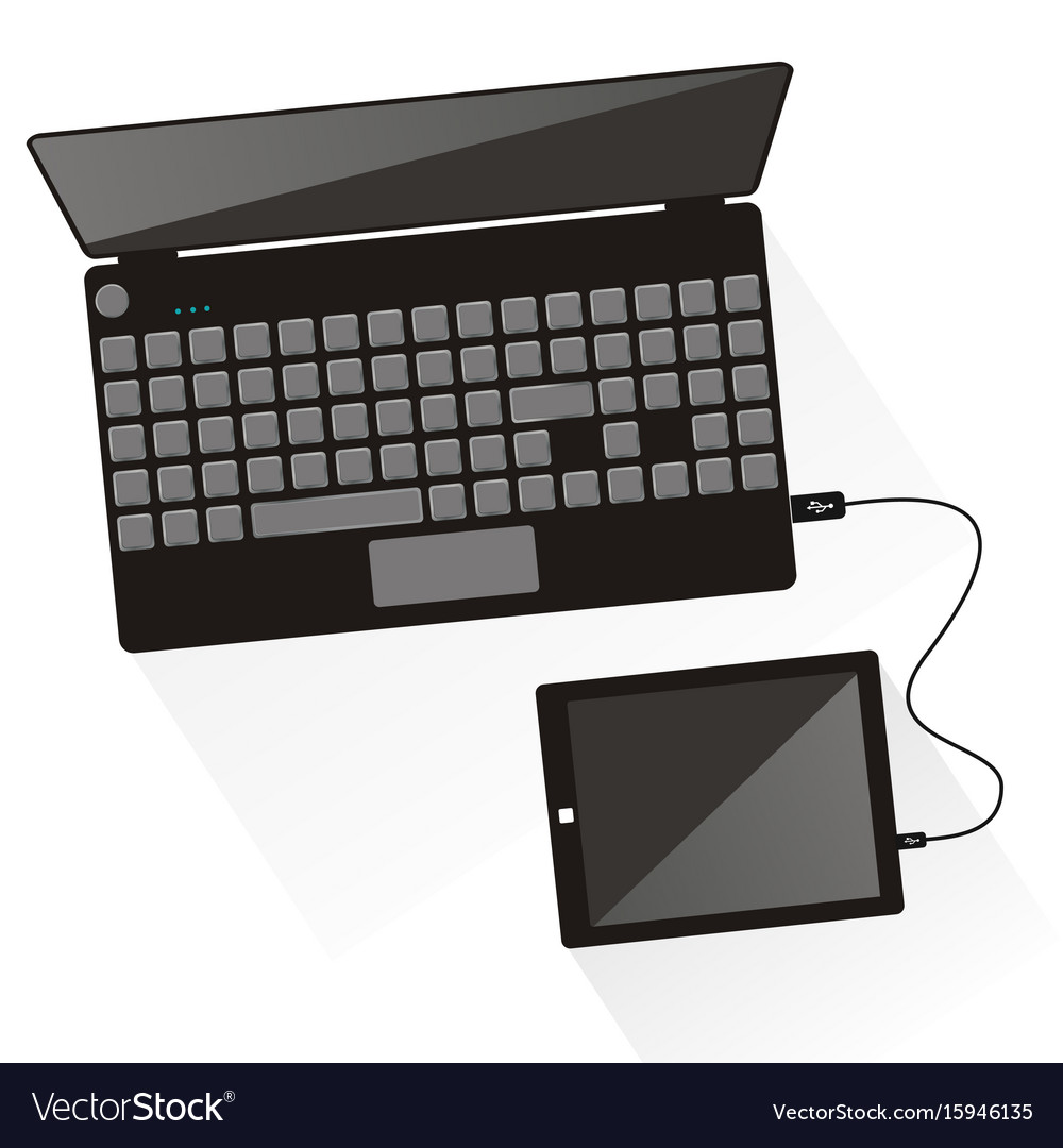 Laptop connected to tablet top view