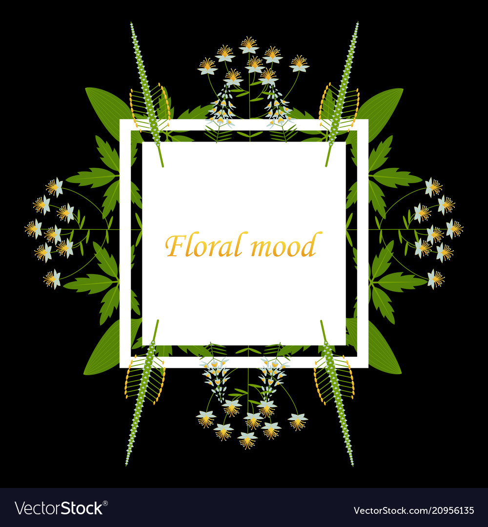 Lettering with leaves floral mood hand sketched vector image