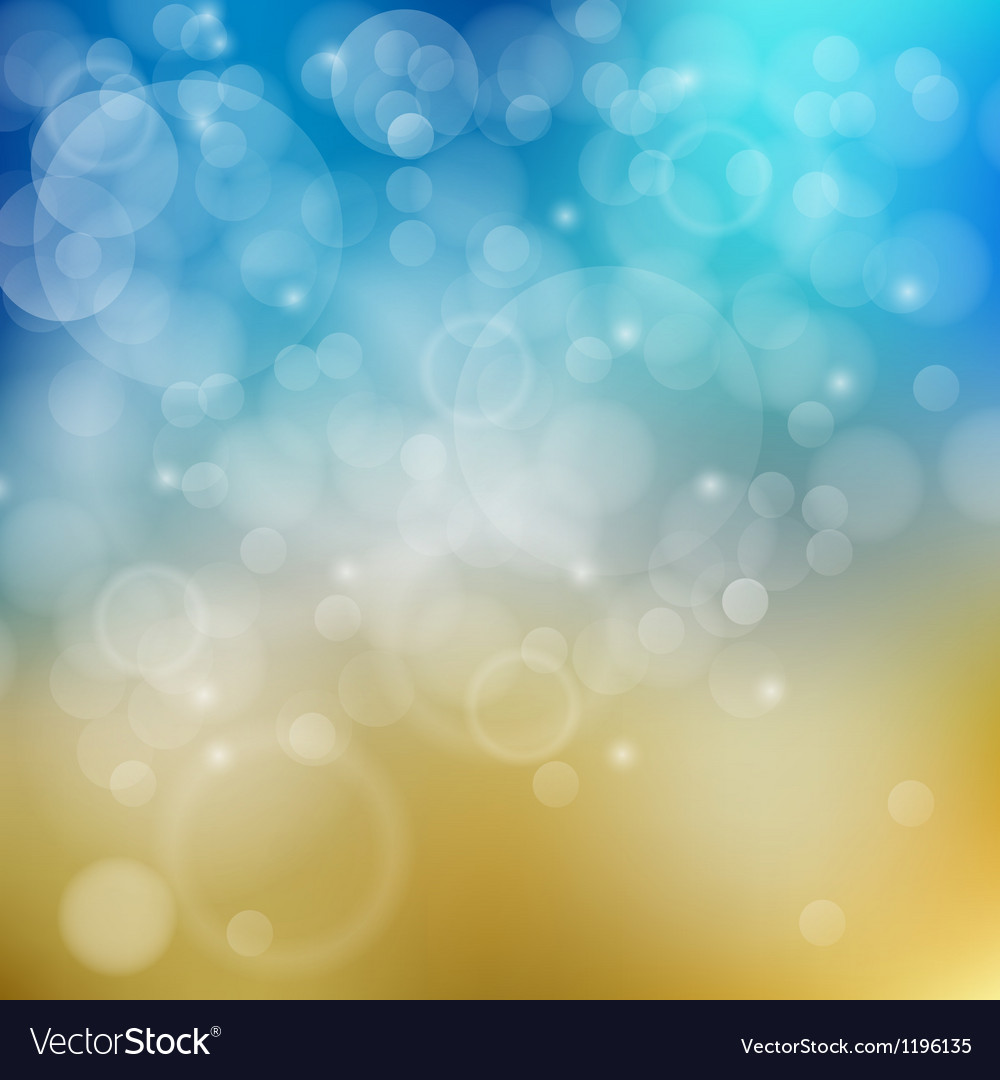 light blue with yellow bokeh background royalty free vector