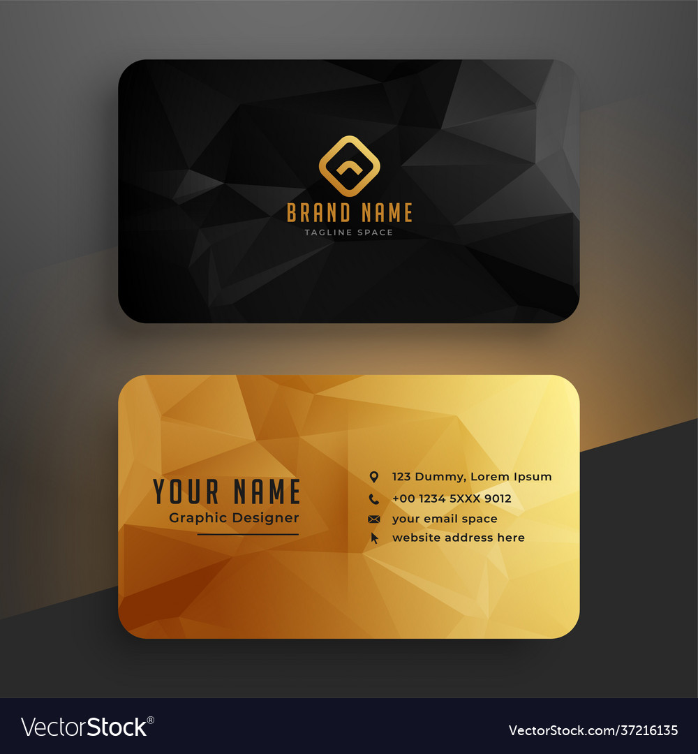 Low poly golden and black business card template