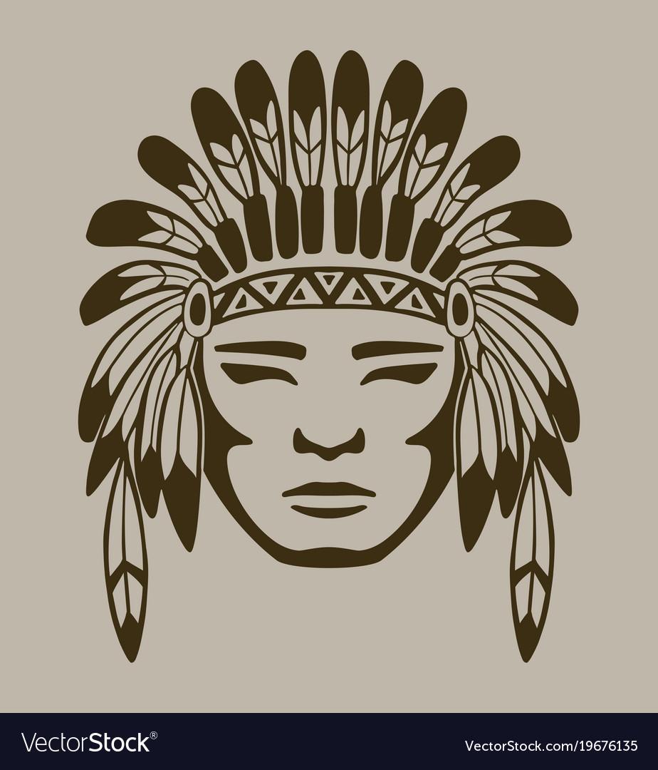 Native american warrior hand drawn vector image