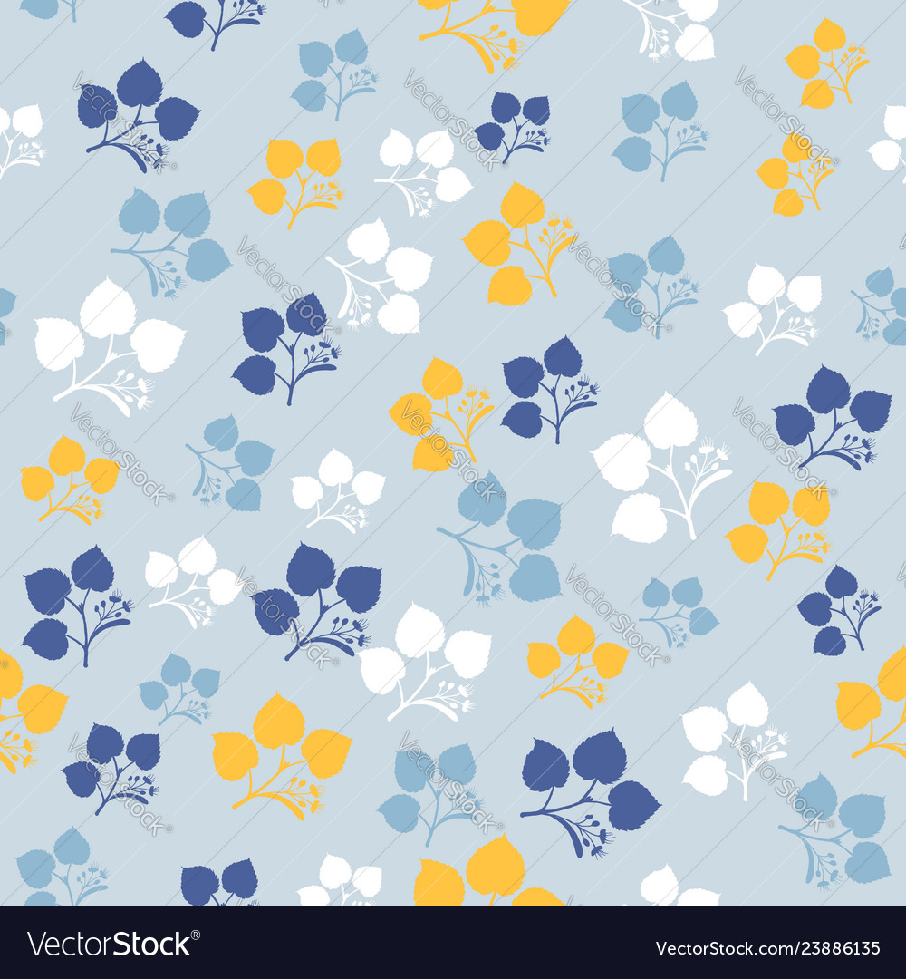 Seamless pattern with linden tree branches