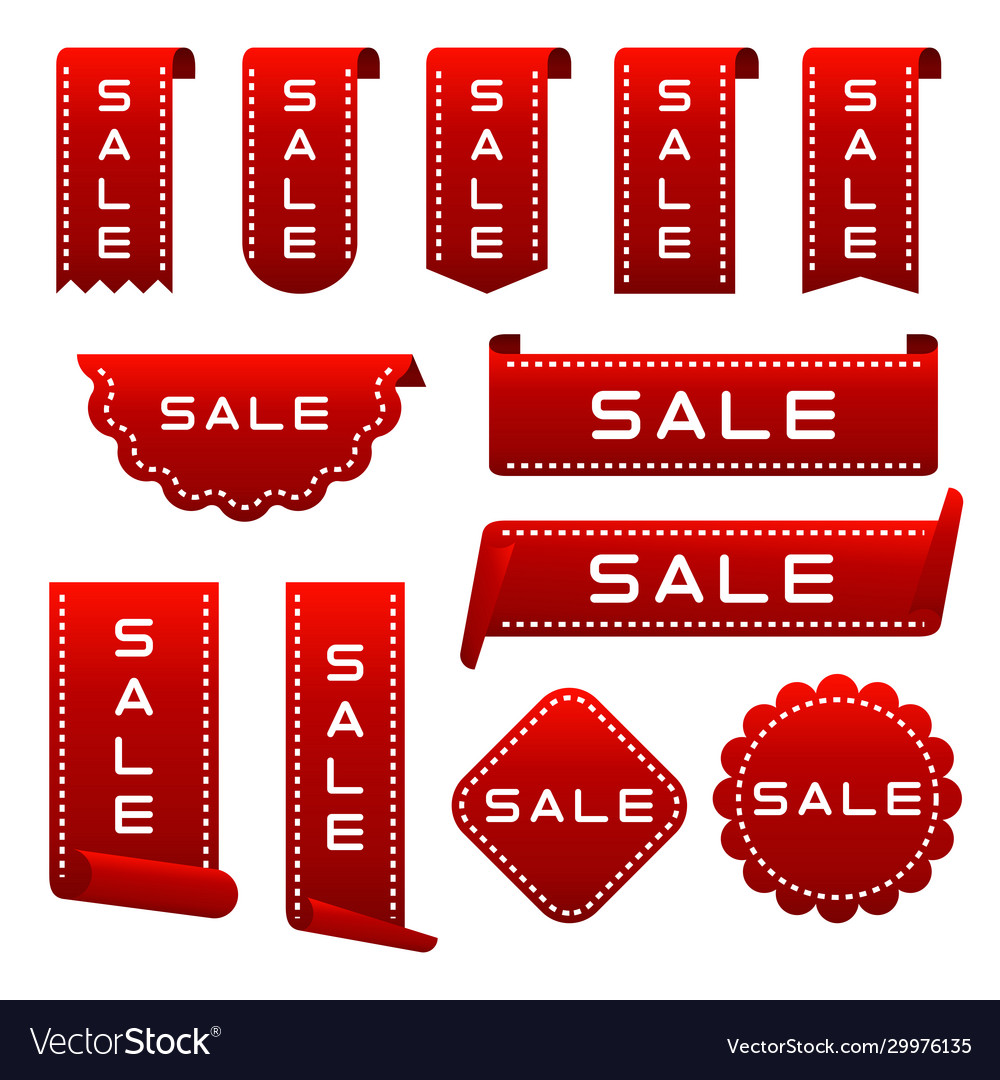 Set ribbons labels banners collection