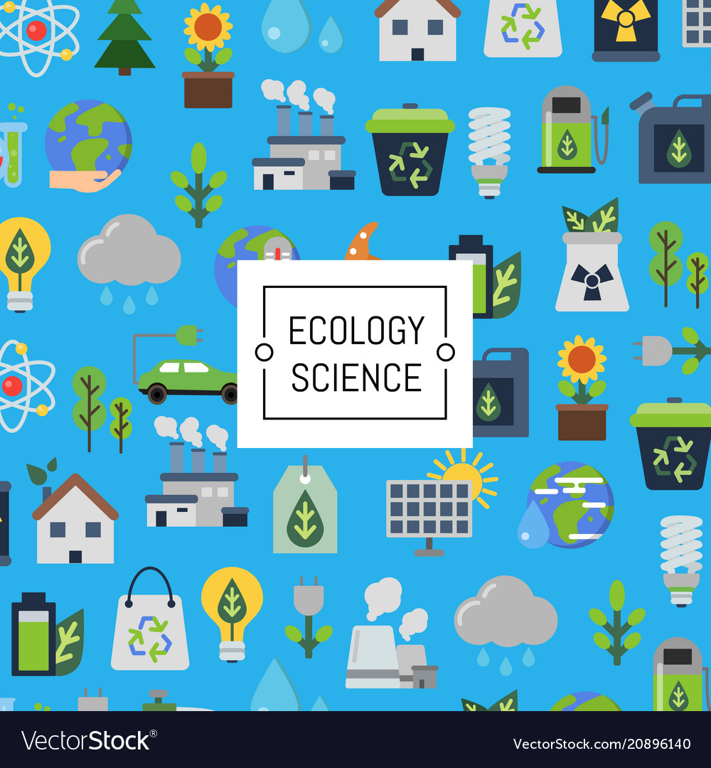 Background with ecology flat icons
