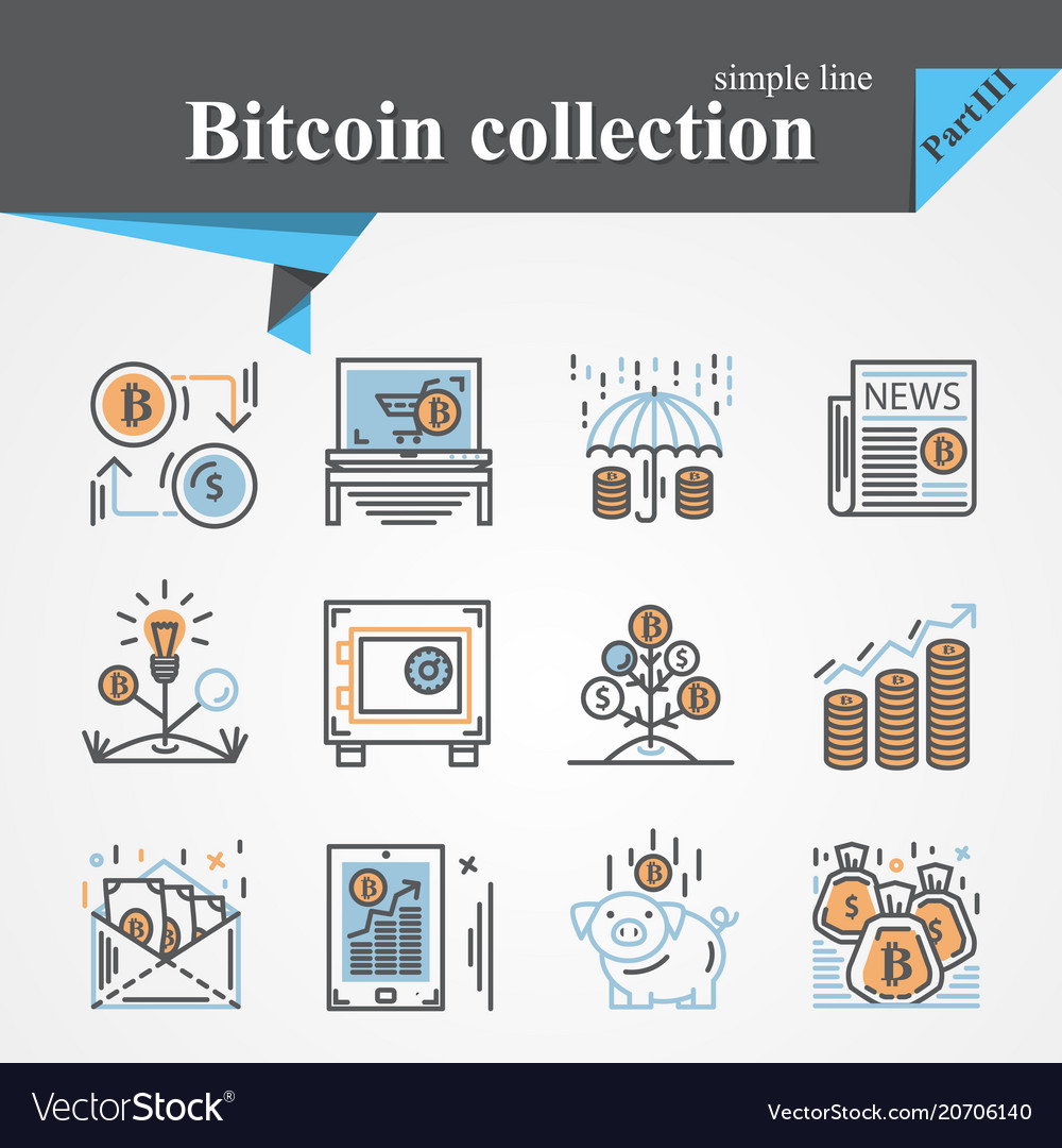 Bitcoin outline and flat trendy icon set isolated