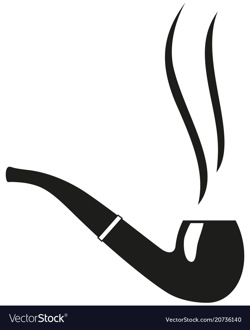 Black and white smoking tobacco pipe silhouette vector image