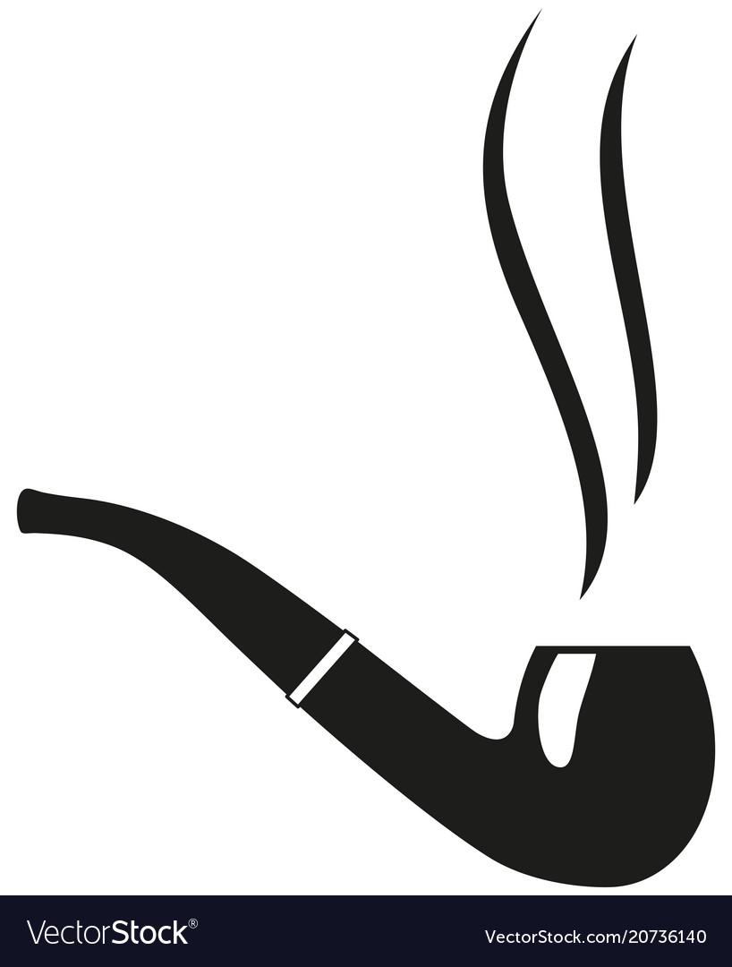 Black and white smoking tobacco pipe silhouette