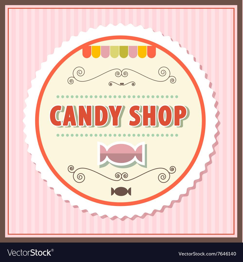 Candy Shop Retro on Vintage Pink Background vector image