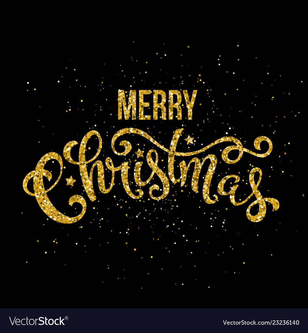 Gold merry christmas party handwritten lettering