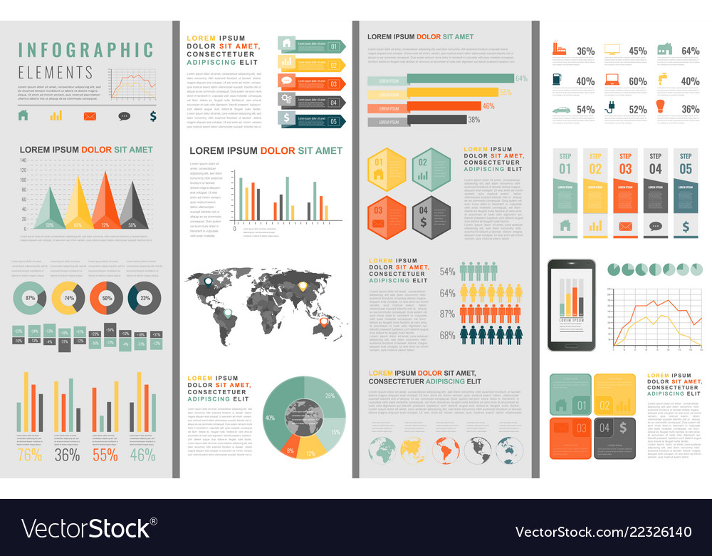 Infographic elements with world map and charts