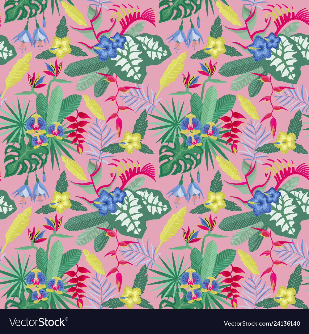 Vintage flowers and leaves pattern