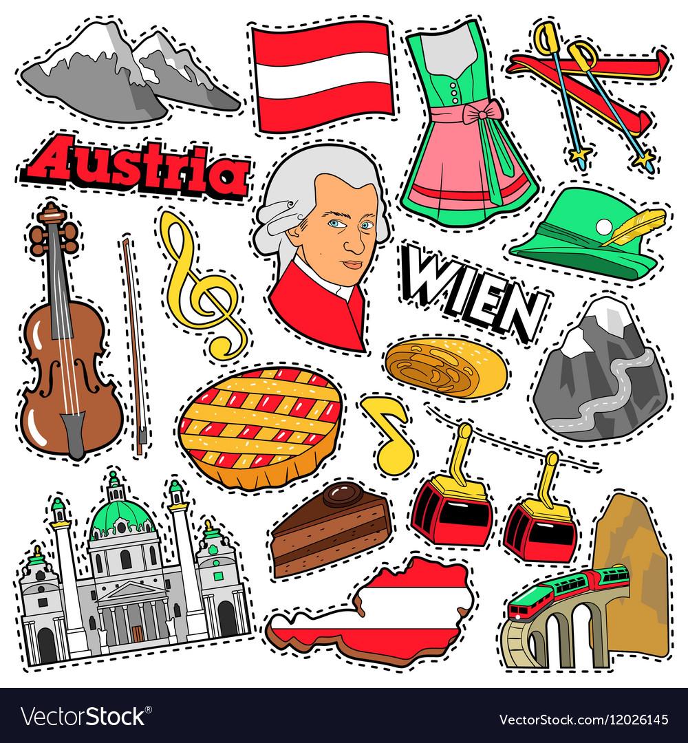 Austria Travel Scrapbook Stickers Patches Badges Vector Image