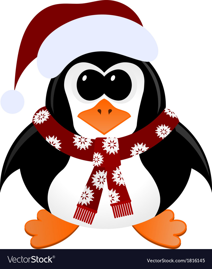 Christmas Scarf.Cartoon Penguin With Christmas Hat And Scarf