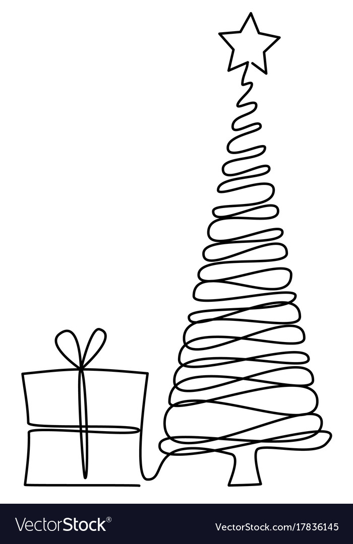 Christmas Tree One Line Drawing Royalty Free Vector Image