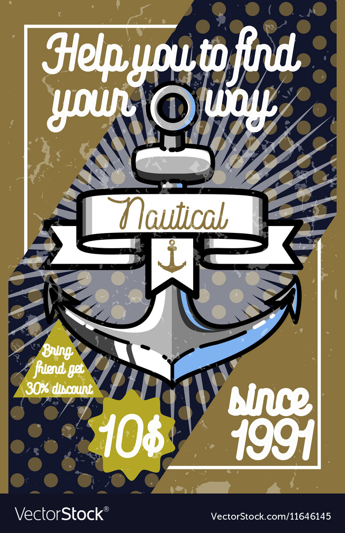 Color vintage nautical poster