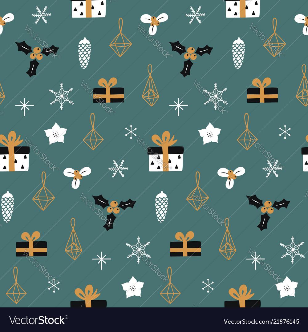 Hand drawn decorative christmas seamless pattern