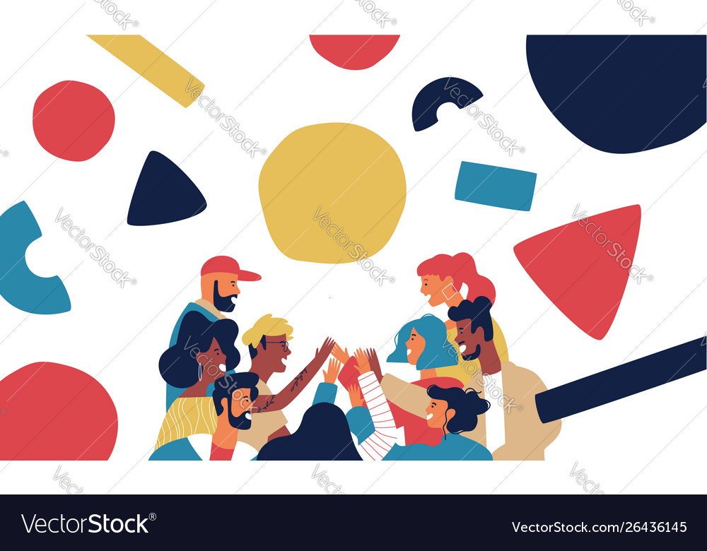 Happy friend group high five with geometry shapes