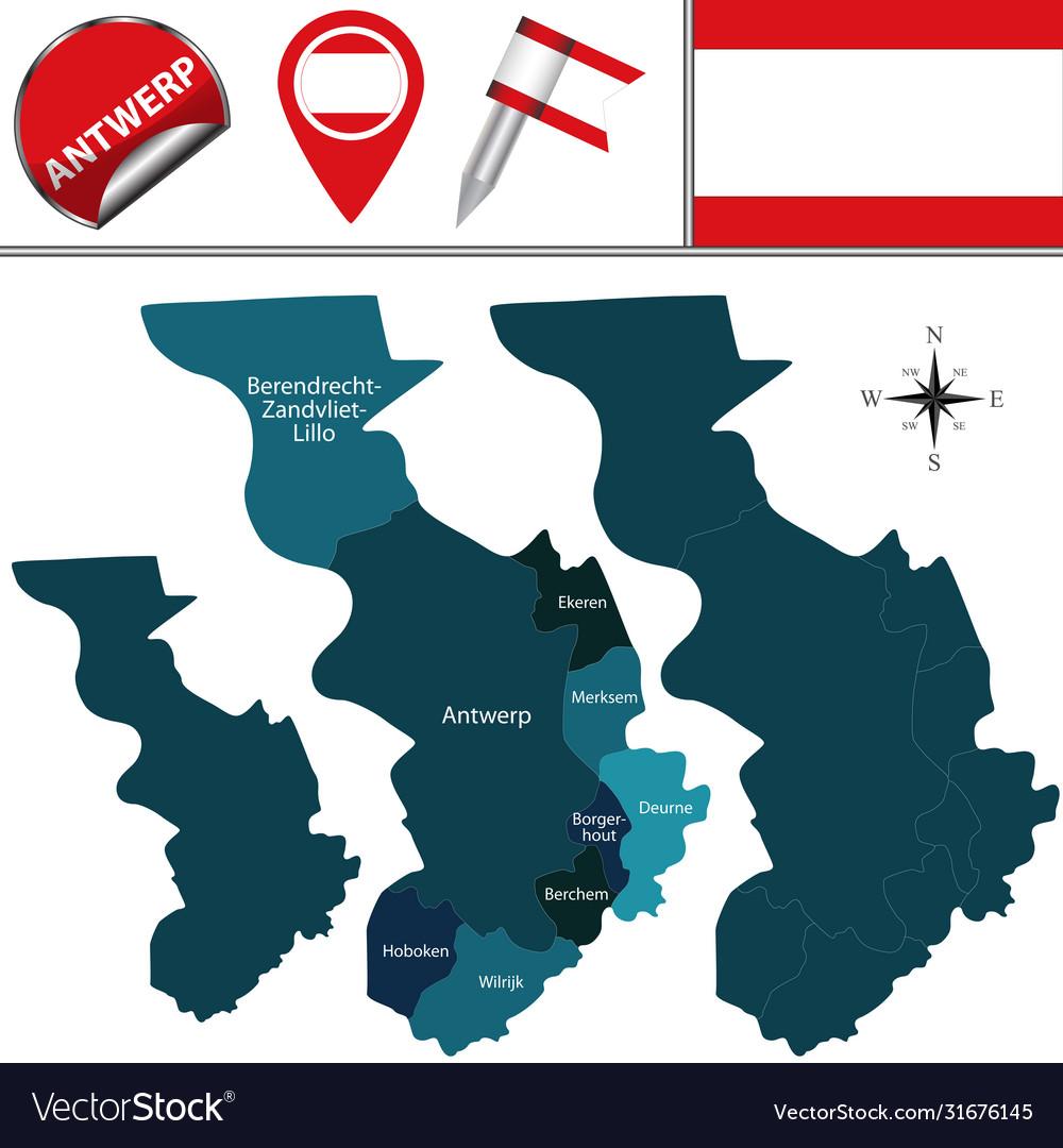 Map Antwerp Belgium Royalty Free Vector Image Vectorstock