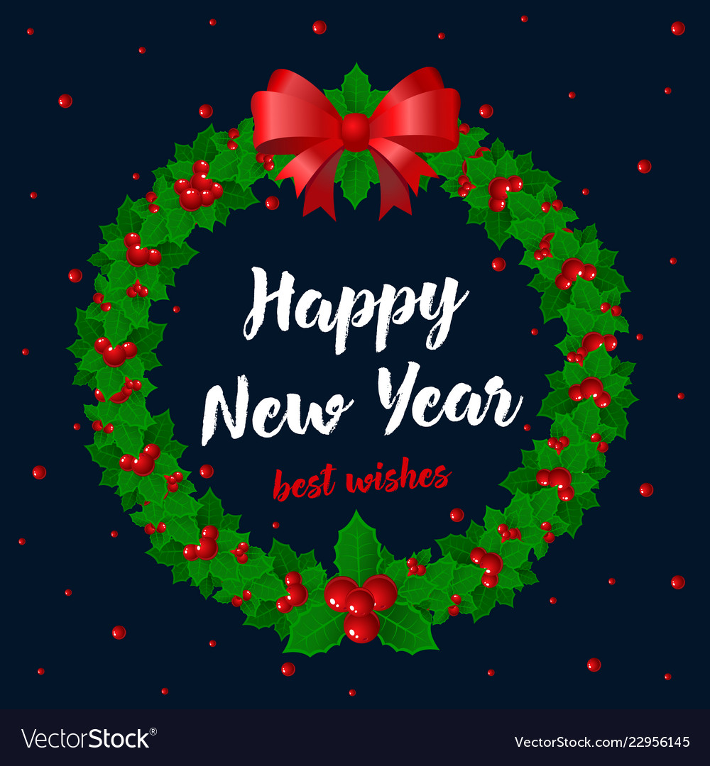 Merry christmas and happy new year card holidays