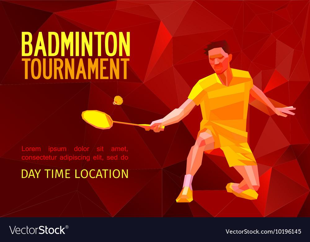 Polygonal badminton player sports poster