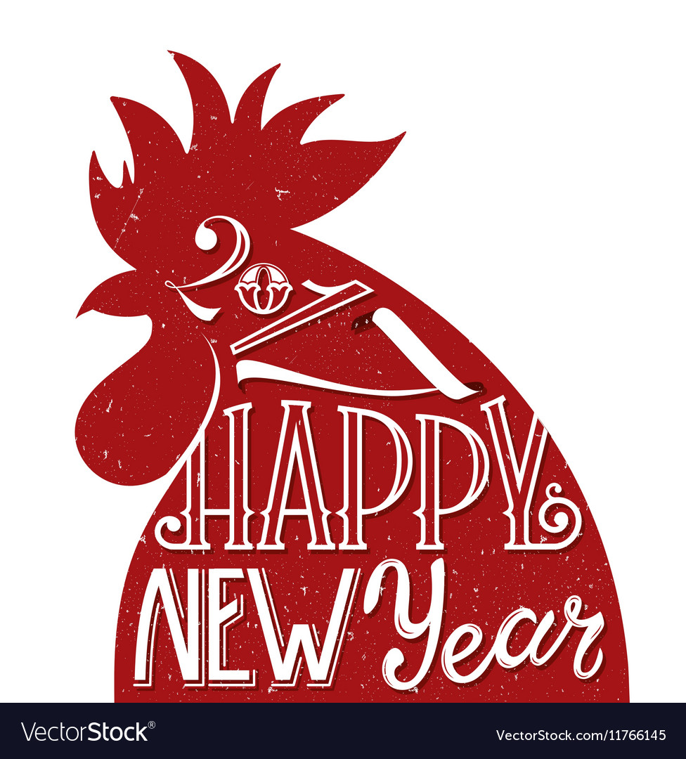 Red rooster symbol 2017 greeting card for new