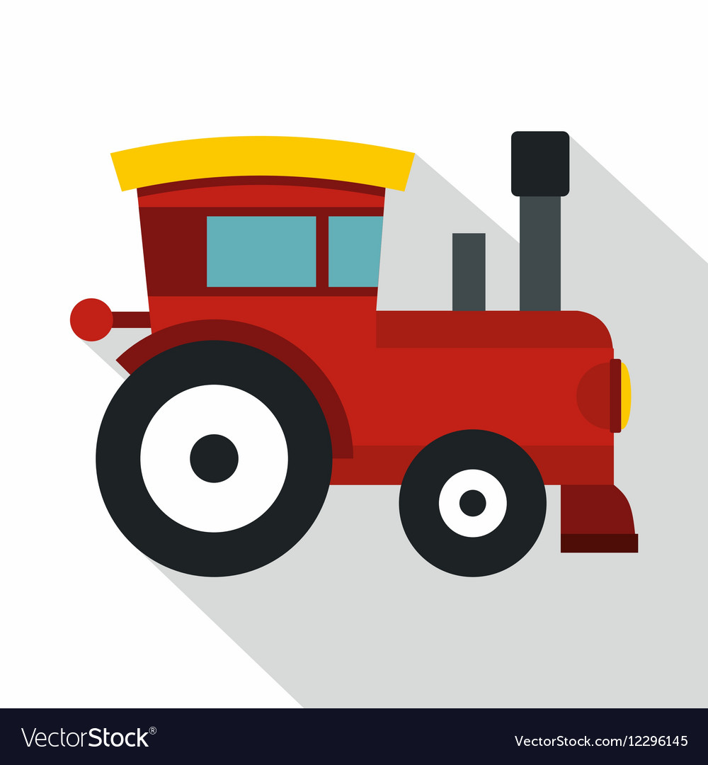 Red toy train icon flat style