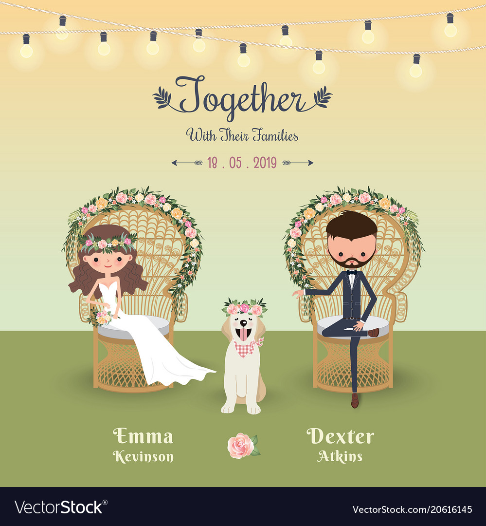 Rustic bohemian cartoon couple wedding invitation