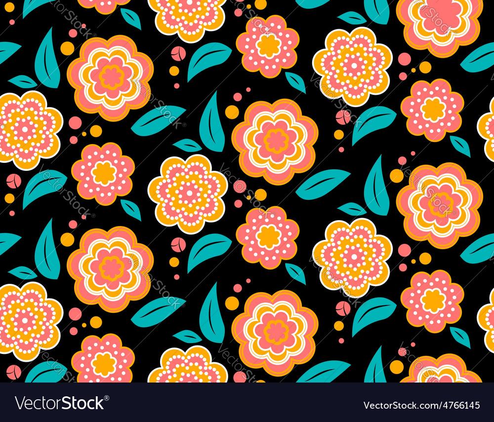 Seamless spring flower pattern on black background vector image