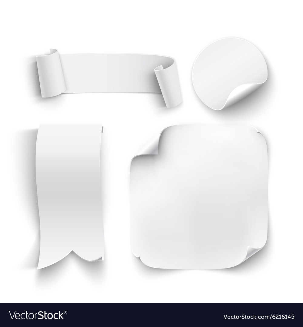 Set of white blank stickers