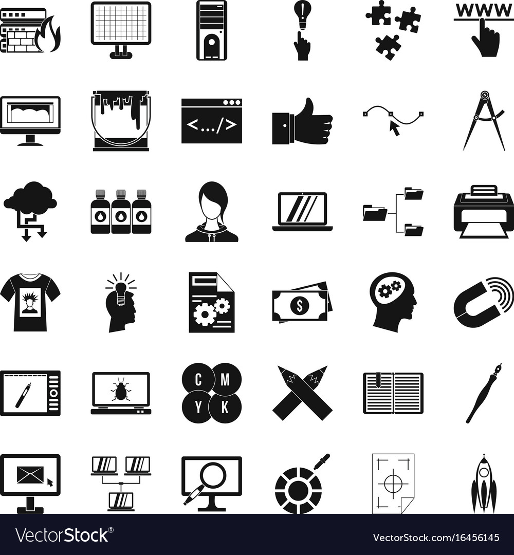 Website icons set simple style