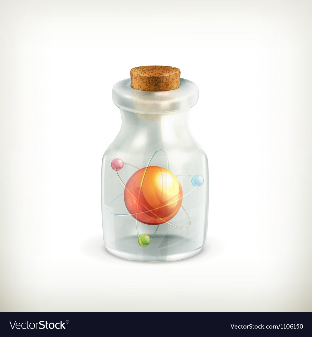 Atom in a bottle icon vector image
